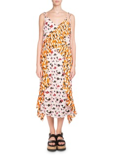 Kenzo Floral-Print Ruffled Slip Midi Dress