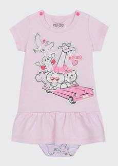 Kenzo Girl's Animal Logo Print Dress w/ Matching Bloomers  Size 6-18 Months