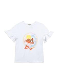 Kenzo Girls' Ruffle-Sleeve Surfing Tiger Tee - Little Kid