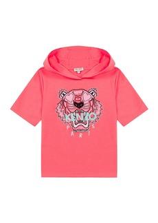 Kenzo Girl's Tiger Short-Sleeve Hooded Sweatshirt  Size 14