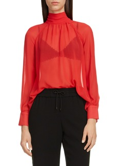 KENZO High Neck Tie Back Sheer Tunic