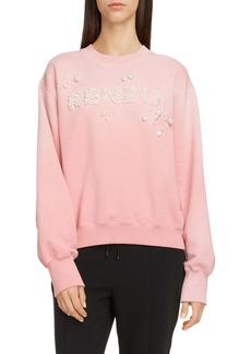 KENZO Imitation Pearl Logo Cotton Sweatshirt