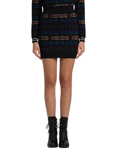 Kenzo Jacquard Knit Miniskirt With Allover Logo