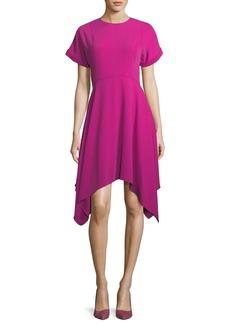 Kenzo Jewel-Neck Short-Sleeve Crepe Dress w/ Handkerchief Hem