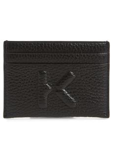 KENZO Logo Debossed Leather Card Holder