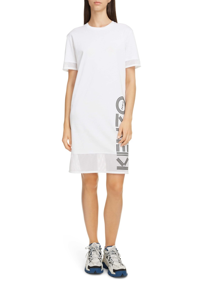 KENZO Logo Mesh Trim Cotton T-Shirt Dress