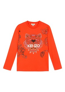 Kenzo Long-Sleeve Tiger & Dragon Print Tee  Size 2-6