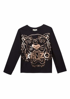 Kenzo Metallic Tiger Face Icon Long-Sleeve T-Shirt  Size 8-12