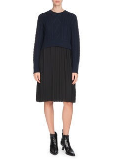 Kenzo Mixed-Knit Pleated Long-Sleeve Dress