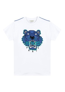 Kenzo Mixed Material Tiger Embroidered T-Shirt  Size 8-12