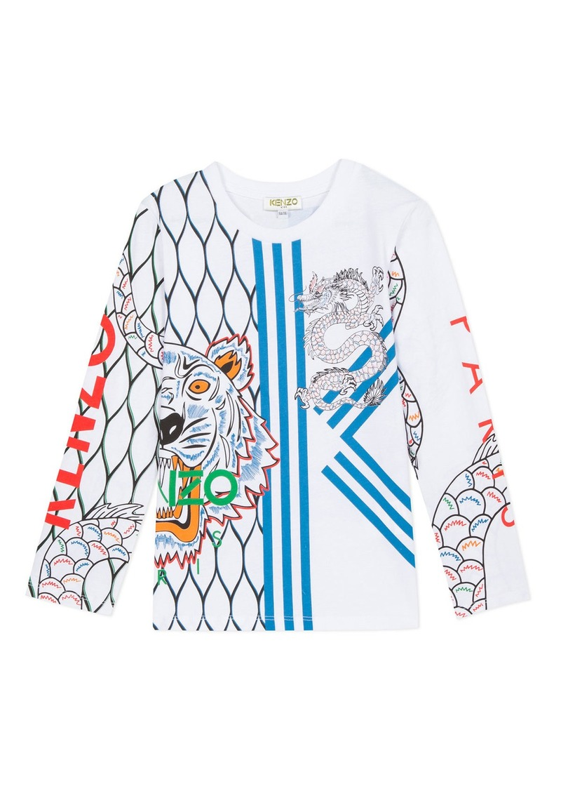 Kenzo Multi-Iconic Tiger & Dragon Graphic Tee  Size 2-6
