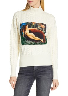 KENZO Painting Panel Cable Knit Wool Blend Sweater