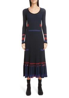 KENZO Rib Long Sleeve Midi Sweater Dress