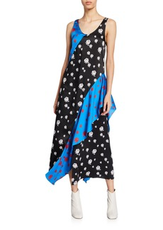 Kenzo Rose-Print Long Ruffle Slip Dress