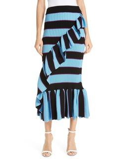 KENZO Ruffle Trim Ribbed Stripe Skirt