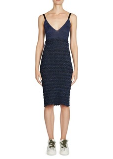 Kenzo Ruffled Lurex Knit Sheath Cotton Dress