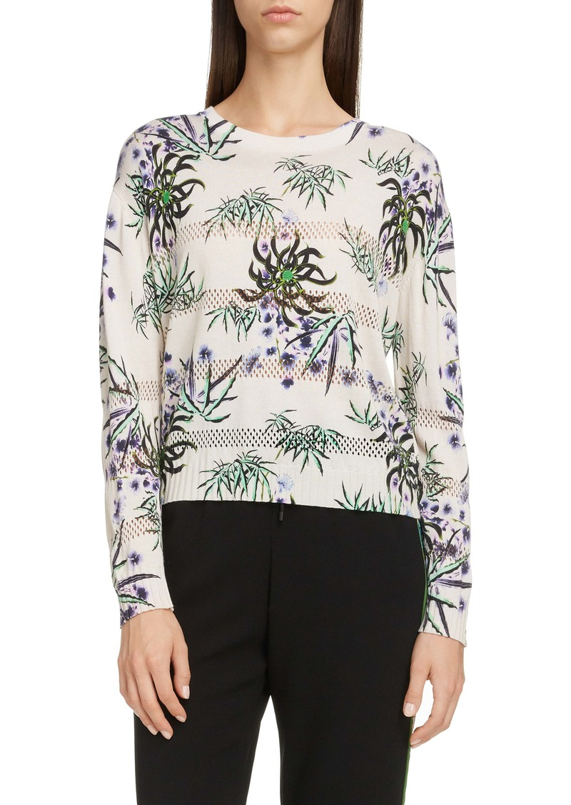 KENZO Sea Lily Print Mesh Stitch Sweater