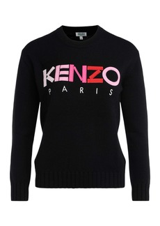Kenzo Shirt In Black Fabric With Multicolored Front Logo