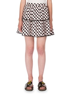 Kenzo Silk Jacquard Scalloped Check Skirt