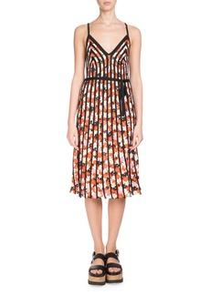 Kenzo Sleeveless Floral-Print Striped Midi Dress