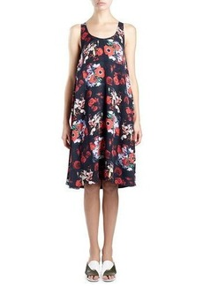 Kenzo Sleeveless Floral Silk Georgette Shift Dress