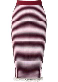 Kenzo Striped ribbed stretch cotton-blend midi skirt