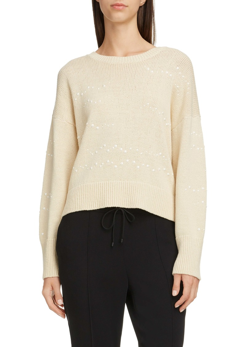 KENZO Studded Waves Cotton & Linen Crop Sweater