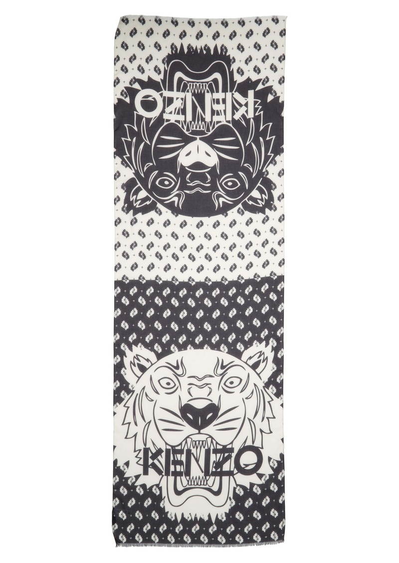 KENZO Tiger Chest Ikat Cotton & Modal Scarf