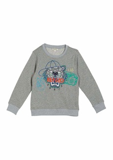 Kenzo Tiger in Ball Cap Embroidered Sweatshirt  Size 5-6