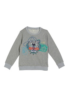 Kenzo Tiger in Ball Cap Embroidered Sweatshirt  Size 8-12