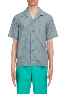 KENZO Tiger Print Short Sleeve Button-Up Camp Shirt