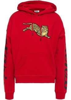 Kenzo Woman Appliquéd French Cotton-terry Hoodie Red