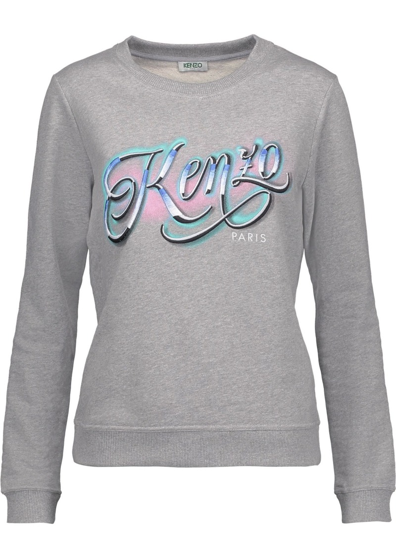 Kenzo Woman Embroidered And Printed Cotton-jersey Sweatshirt Gray