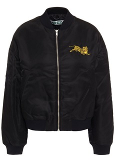 Kenzo Woman Embroidered Shell Bomber Jacket Black