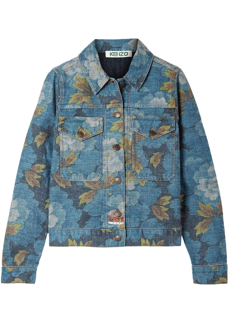 Kenzo Woman Floral-print Denim Jacket Mid Denim