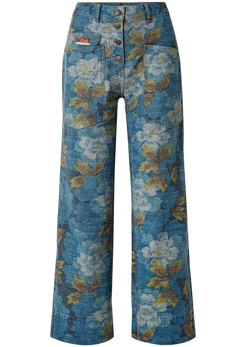 Kenzo Woman Floral-print High-rise Straight-leg Jeans Mid Denim