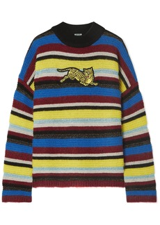 Kenzo Woman Jumping Tiger Appliquéd Striped Wool-blend Sweater Multicolor