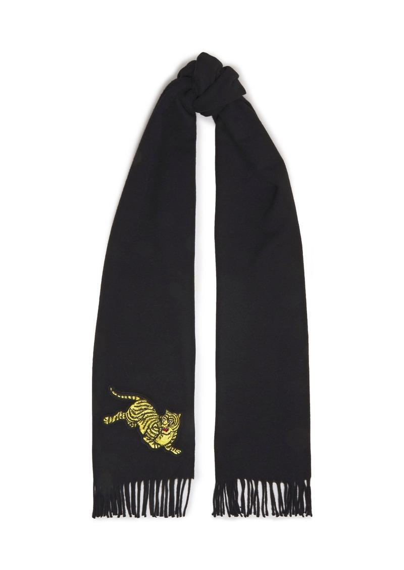 Kenzo Woman Jumping Tiger Fringed Brushed-wool Scarf Black