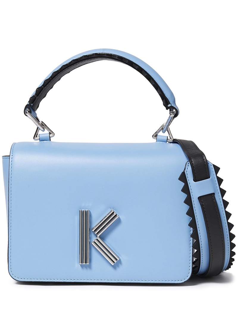 Kenzo Woman K Logo-embellished Leather Shoulder Bag Light Blue