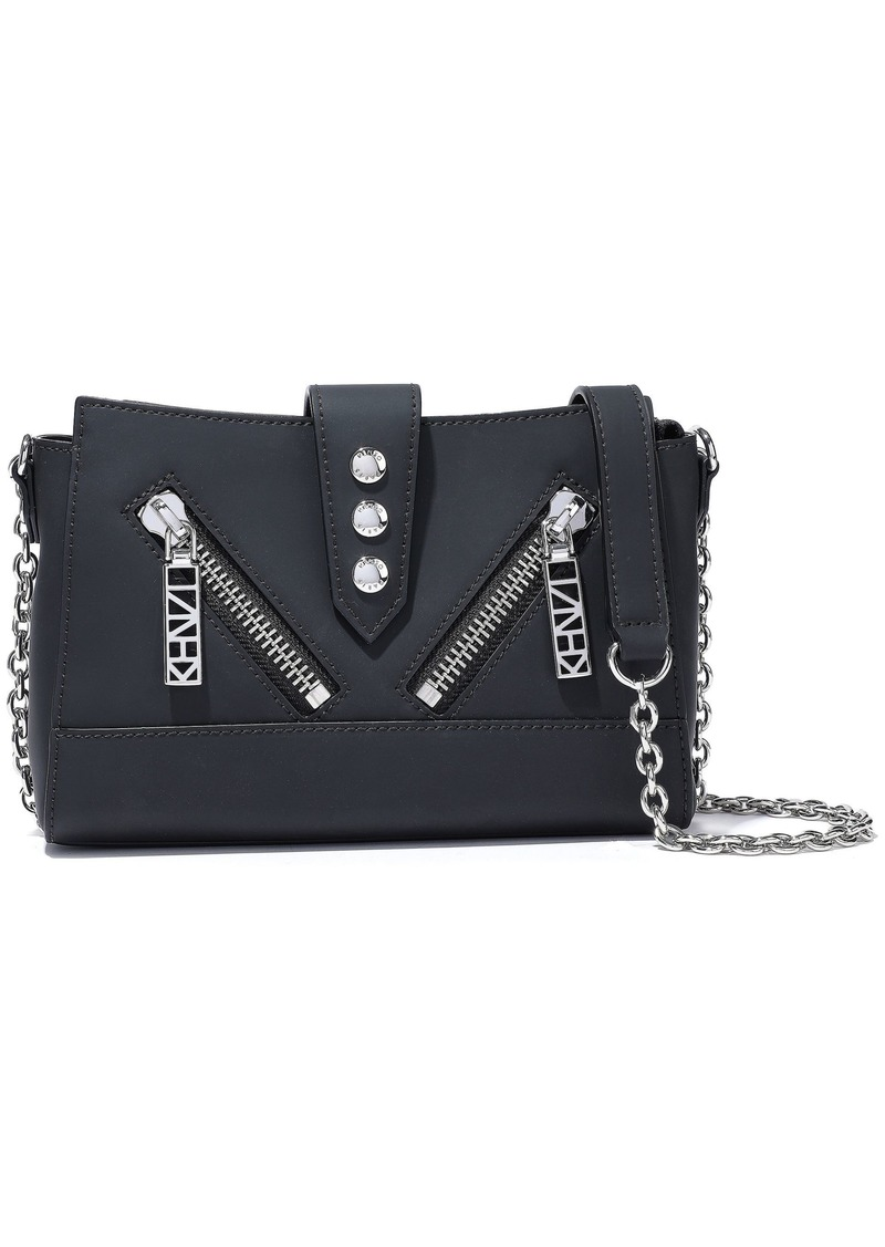 Kenzo Woman Kalifornia Mini Zip-detailed Matte-leather Shoulder Bag Black