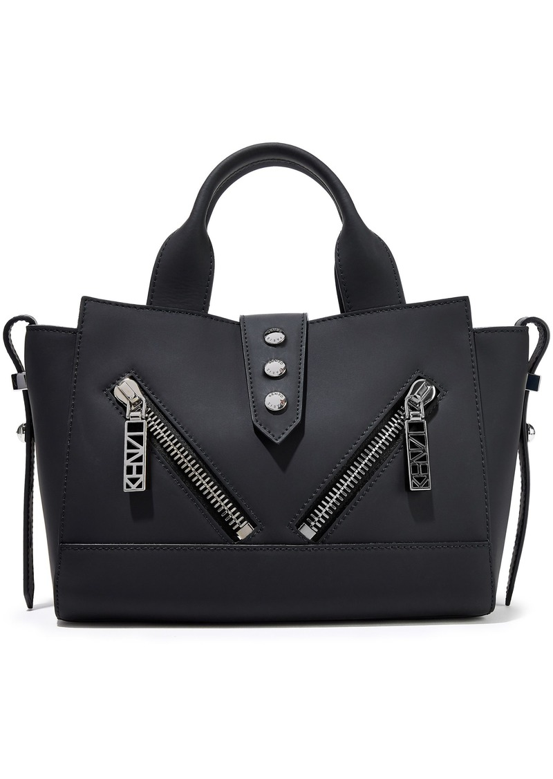 Kenzo Woman Kalifornia Mini Zip-detailed Matte-leather Tote Black