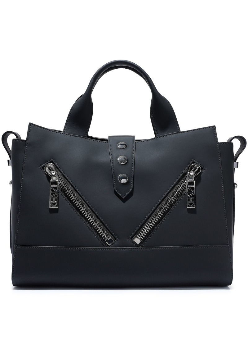 Kenzo Woman Kalifornia Zip-detailed Matte-leather Tote Black