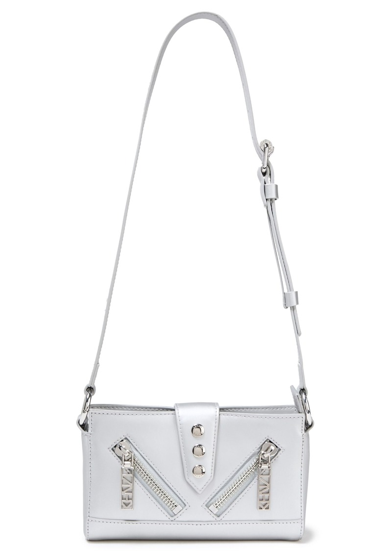 Kenzo Woman Kalifornia Zip-detailed Metallic Leather Shoulder Bag Silver