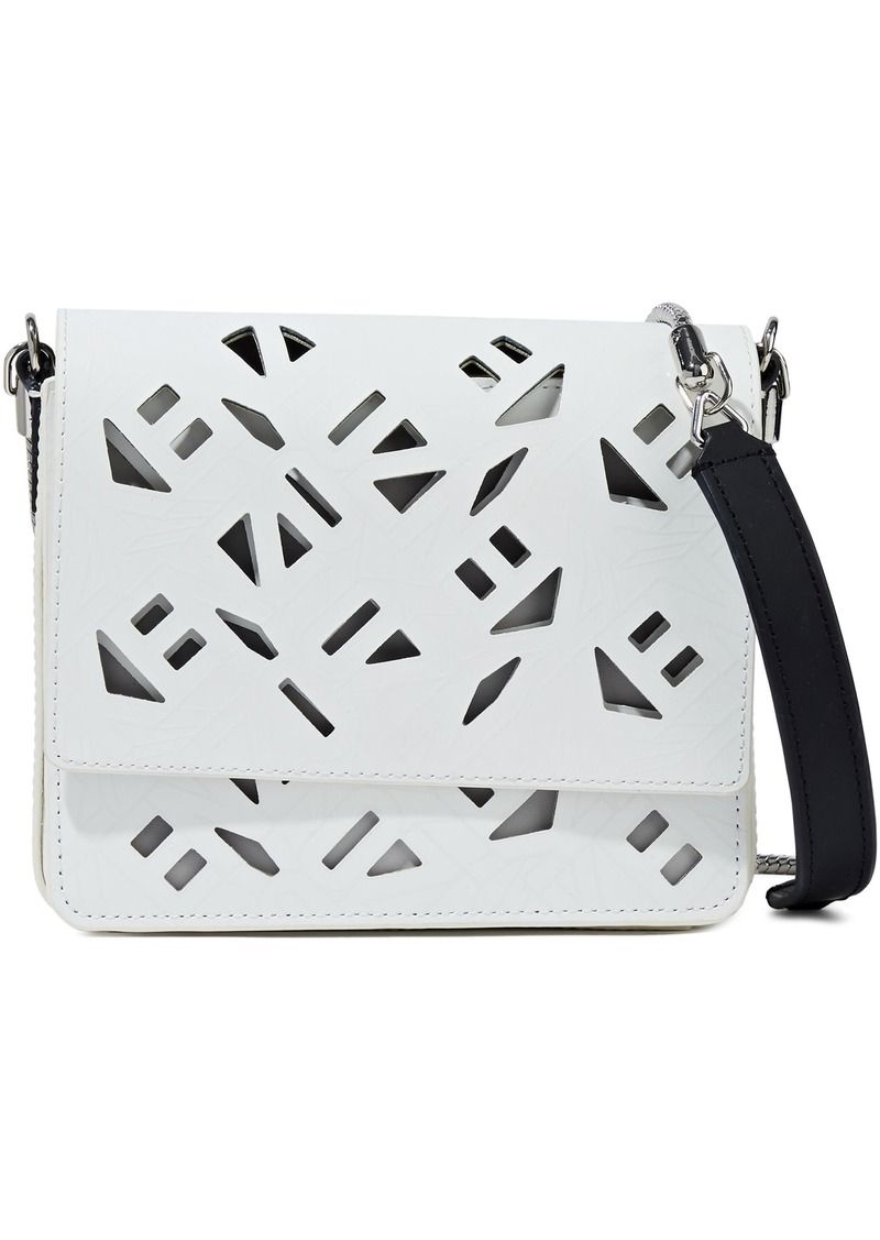 Kenzo Woman Laser-cut Logo-print Leather Shoulder Bag Ivory