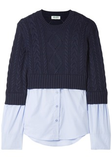 Kenzo Woman Layered Cable-knit Wool And Cotton-poplin Sweater Navy