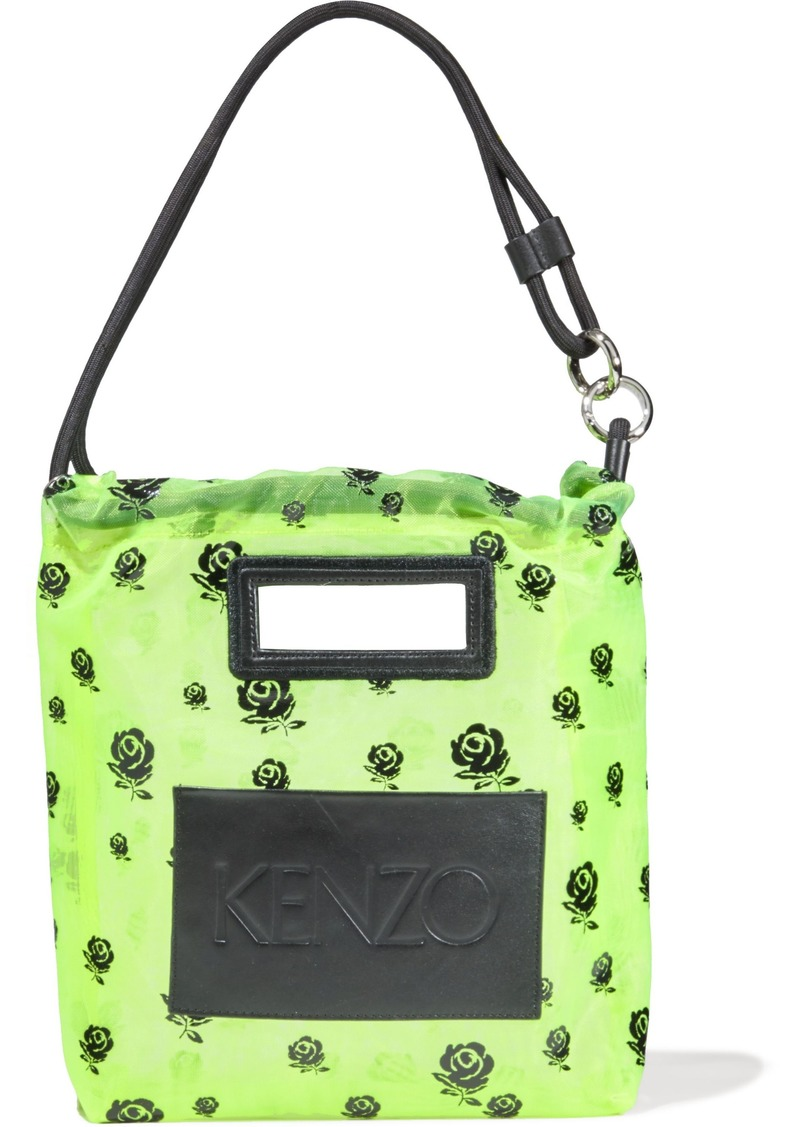 Kenzo Woman Leather-appliquéd Floral-print Neon Mesh Shoulder Bag Chartreuse