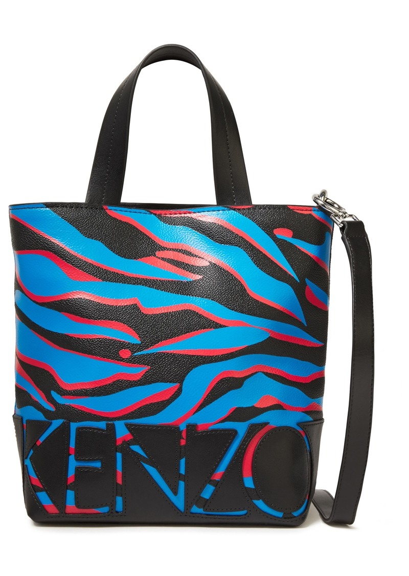 Kenzo Woman Leather-trimmed Printed Pvc Shoulder Bag Black