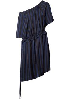 Kenzo Woman One-shoulder Striped Satin-jacquard Dress Black