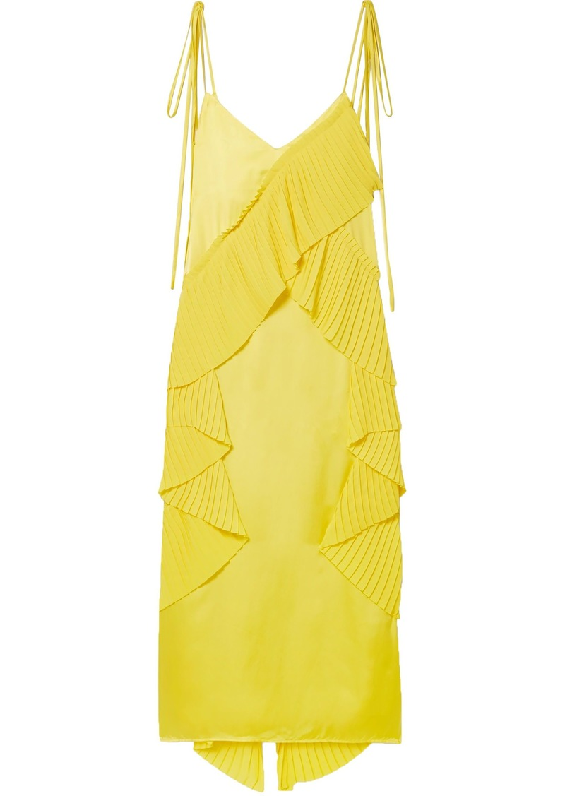 Kenzo Woman Pleated Ruffled Crepe And Satin Midi Dress Yellow