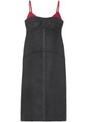 Kenzo Woman Satin Twill-trimmed Wool-blend Midi Dress Anthracite